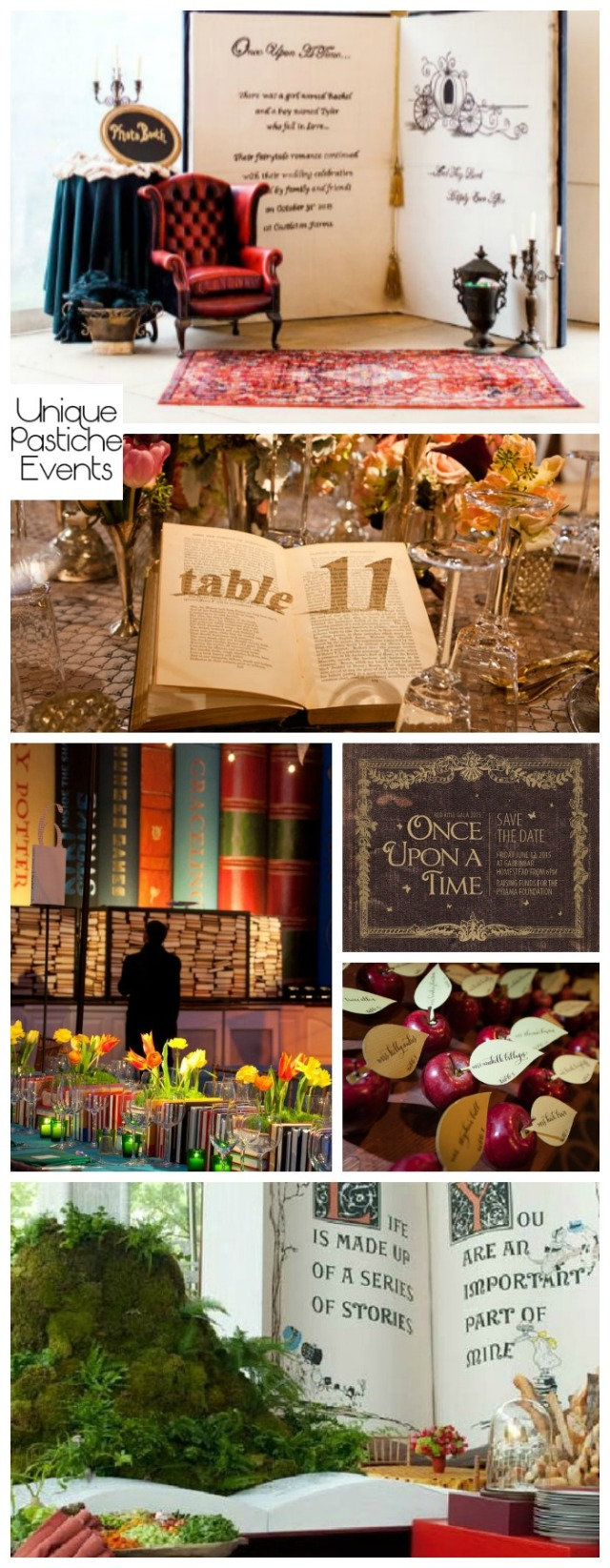 Once Upon a Time Storybook Gala Ideas Get more ideas about this party theme on the original post: https://uniquepasticheevents.com/2016/10/26/once-upon-a-time-storybook-gala-ideas/