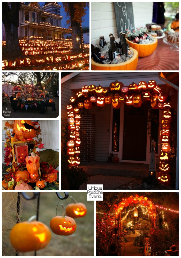 Outdoor Jack-o-lantern Halloween Party Ideas Get all the details of this Halloween party idea board here: https://uniquepasticheevents.com/2016/10/05/outdoor-jack-o-lantern-halloween-party-ideas/