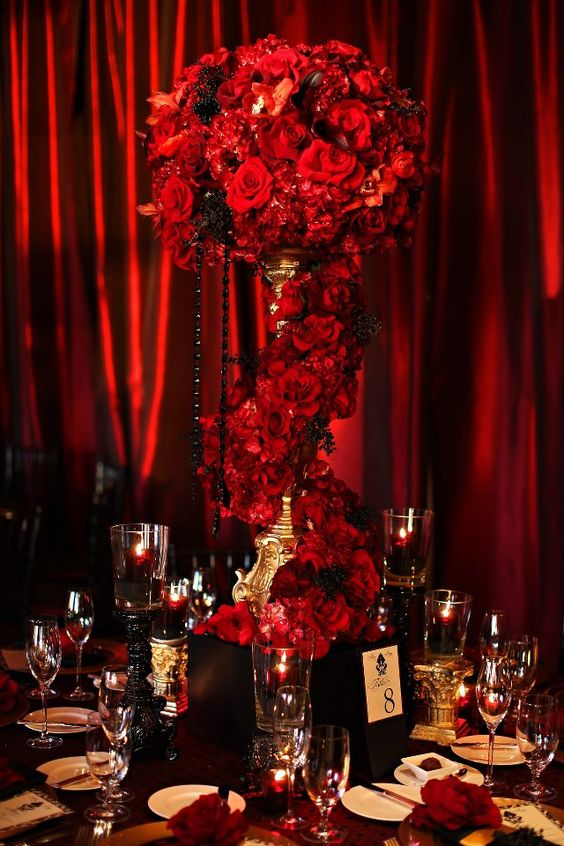 Red and Black Flower Centerpiece with Gothic Flair