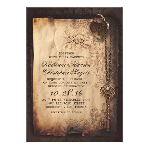 Vintage Skeleton Key Wedding Invitation – designed by Jinaiji on Zazzle