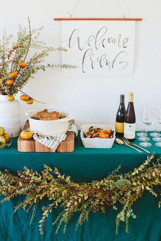 Citrus and Teal Rustic Food Buffet Display – shared on 100 Layer Cake