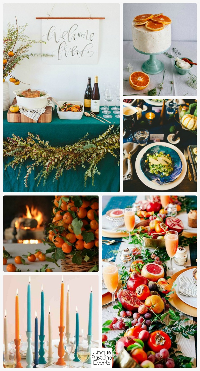 Citrus Themed Thanksgiving Decor Get all the ideas for next year: https://uniquepasticheevents.com/2016/11/09/citrus-themed-thanksgiving-decor/