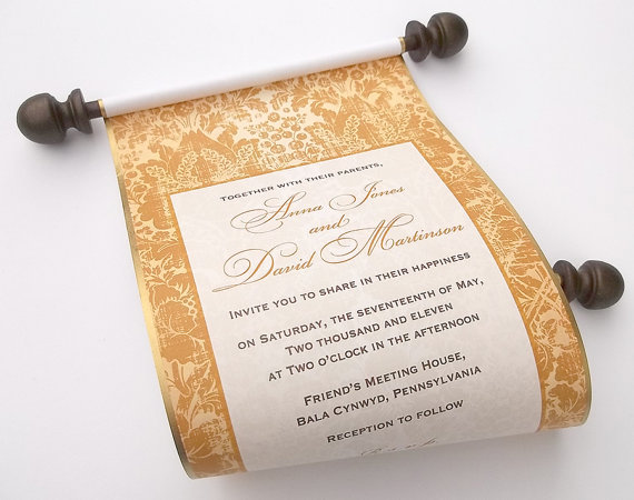 Elegant Winter Wedding Scroll Invitation with Gold Print – created and sold by ArtfulBeginnings on Etsy