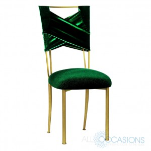 Green Velvet on a Gold Chameleon Chair – available through All Occasions Party Rental