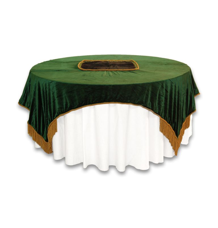 Green Velvet Tablecloth Overlay with Gold Tassel Borders – available through PRI Productions