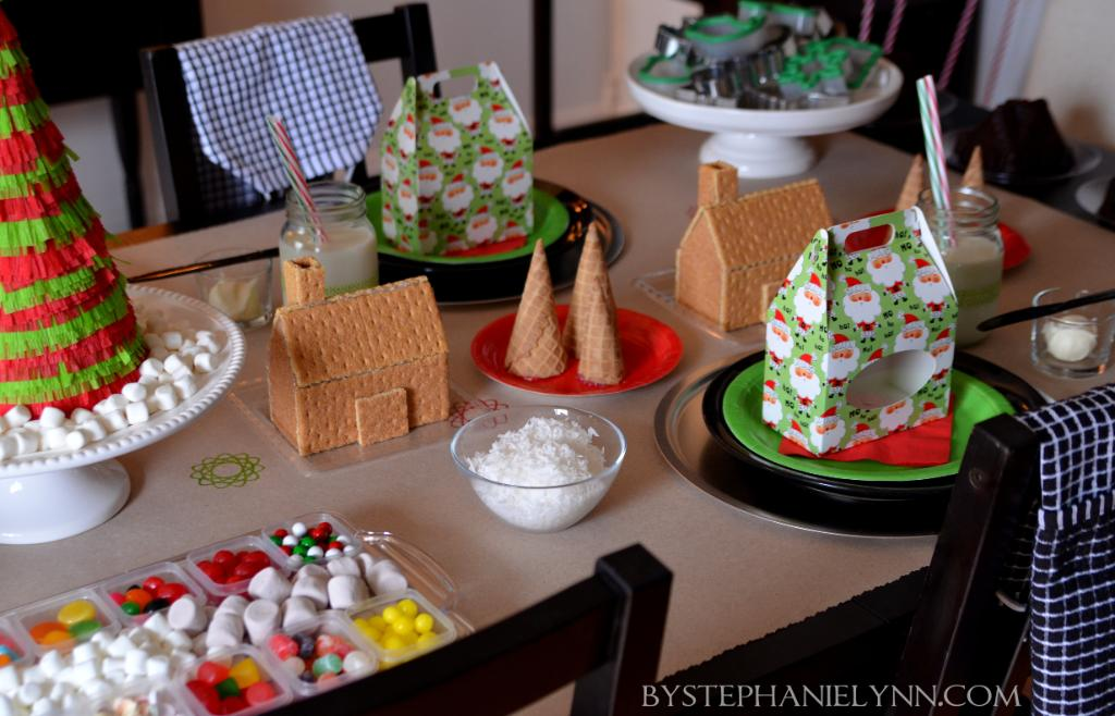Holiday Gingerbread House Decorating Table Station – as shared by Stephanie Lynn
