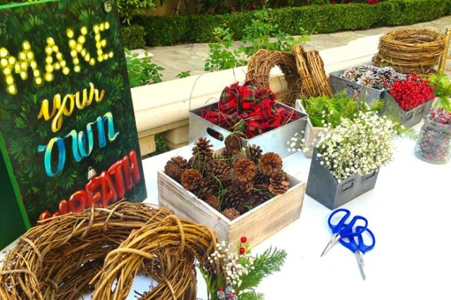 Holiday Wreath Making Stations – as featured on BizBash