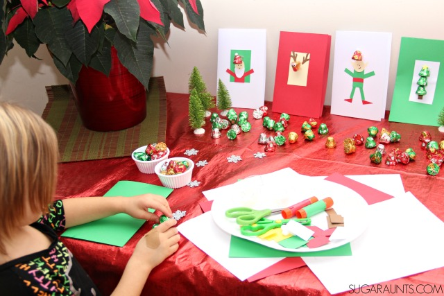 Kids Holiday Card Making Party Station – as shared by Sugar Aunts