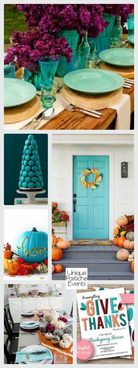 Modern and Clean Thanksgiving Decor in Maroon and Turquoise Blue Get all the details here: https://uniquepasticheevents.com/2016/11/16/modern-and-clean-thanksgiving-decor-in-maroon-and-turquoise-blue/