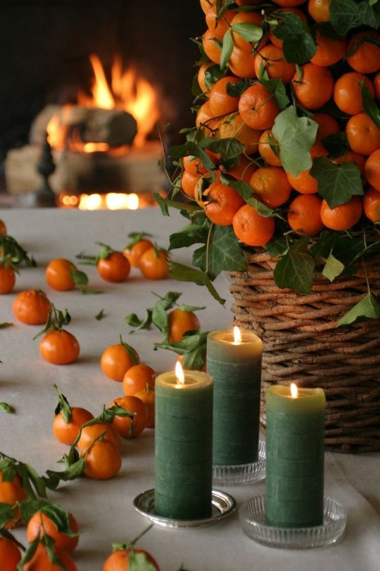 Orange Basket and Candle Accent Décor – shared on DigsDigs