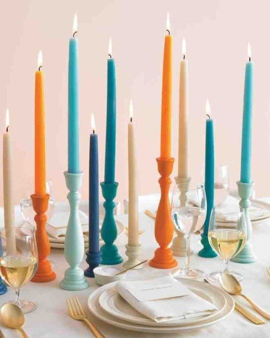 Shades of Teal Blue and Orange Candle Holder Tutorial – shared by Martha Stewart Weddings