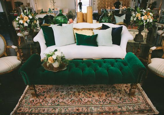 Sophisticated Green Velvet and White Sofa Lounge – featured on 100 Layer Cake