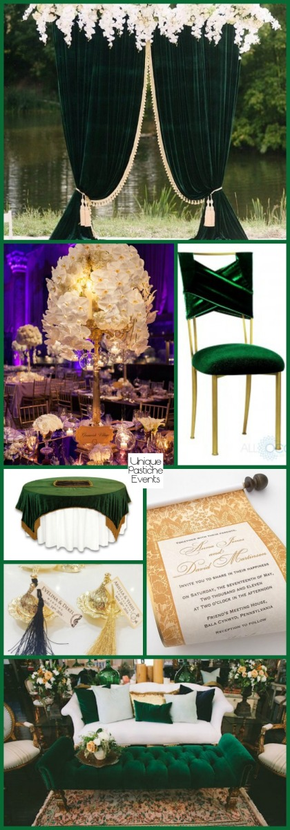Sophisticated Green Velvet Winter Wedding Decor with Gold Get all the details of this wedding here: https://uniquepasticheevents.com/2016/11/30/sophisticated-green-velvet-winter-wedding-decor-with-gold/