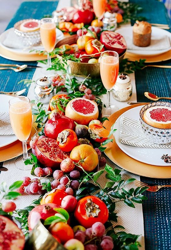 Teal Blue and Orange Fruit Runner Medley Table Centerpiece – shared by MYDOMAINE