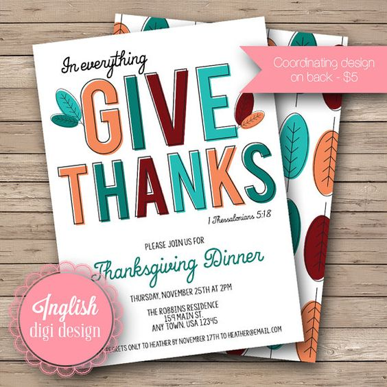 Teal, Turquoise, and Maroon Thanksgiving Dinner Printable Invitation – created and sold by inglishdigidesign on Etsy