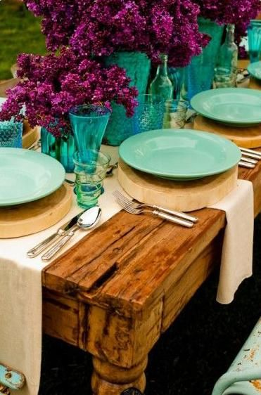 Turquoise and Fuchsia Rustic Tablescape – shared in a roundup post by Happy Wedd
