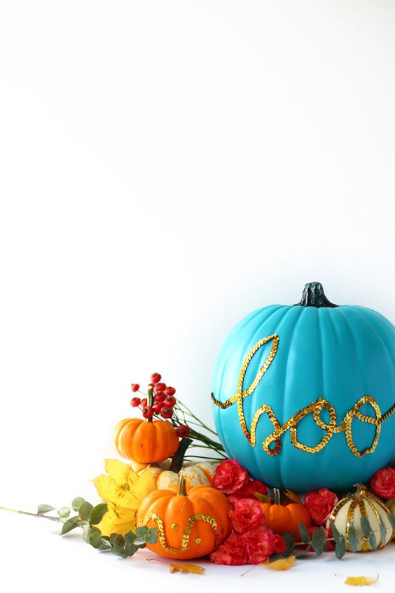 Vibrant Blue Pumpkin with Sequin Details – shared by Squirrelly Minds
