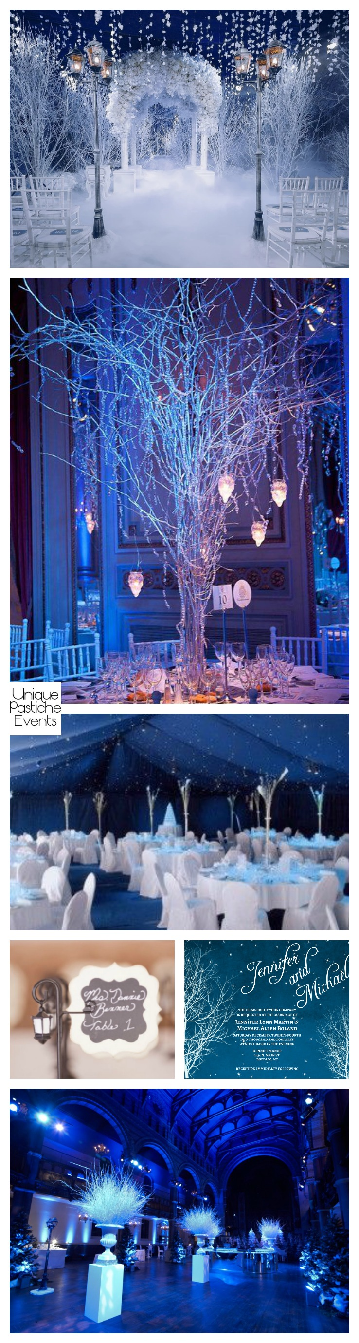 A Wedding on a Snowy Winter Night Read all the details of this wedding inspiration here: https://uniquepasticheevents.com/2016/12/14/a-wedding-on-a-snowy-winter-night/
