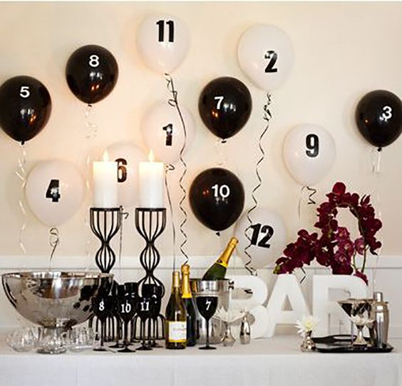 Black and White New Year's Eve Bar – spotted on Pinterest