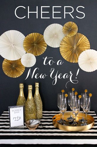 Black and White Stripe New Year's Eve Champagne Bar – shared by Evite