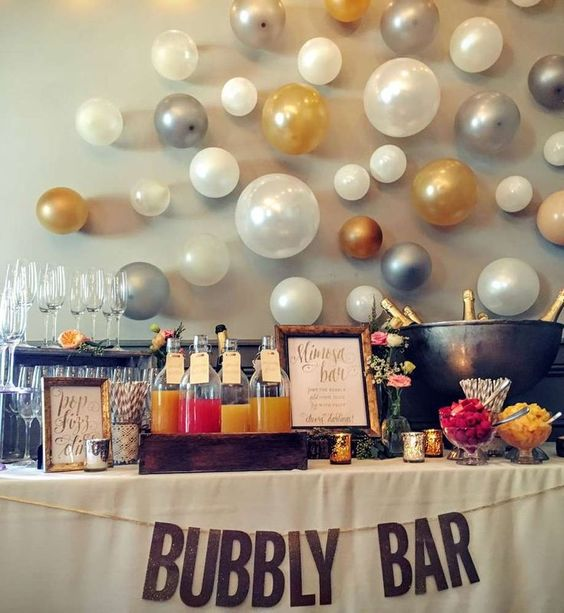 Bubbly Bar with White, Silver, and Gold Balloons – shared by Paula Clemente Woods on CatchMyParty