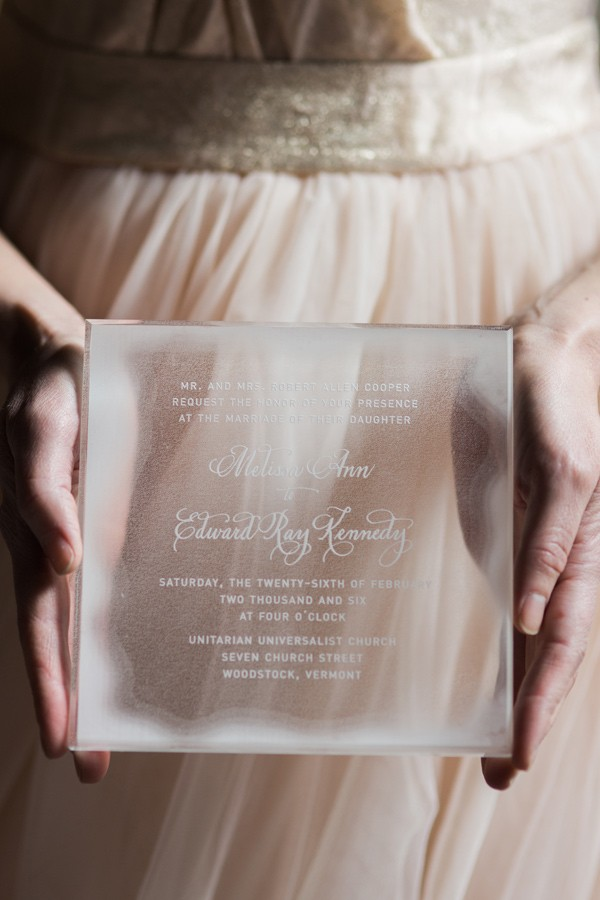 Etched Icicle Wedding Invitation – shared on Ruffled