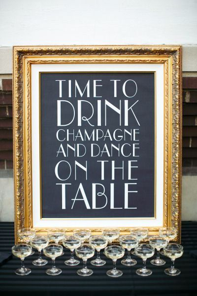 Framed Art Quote with Poured Champagne Display – shared on Style Me Pretty