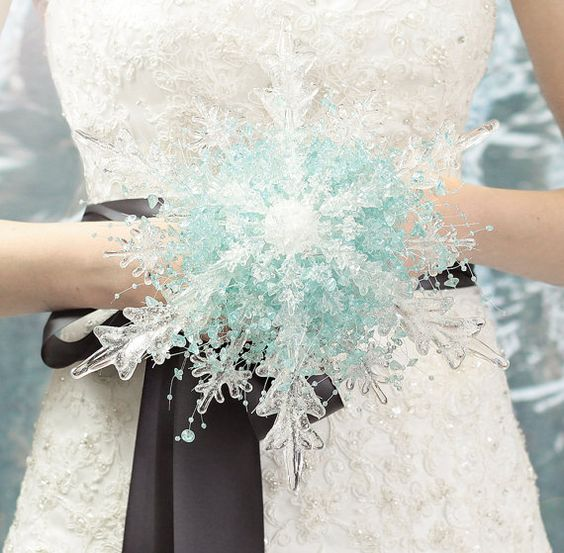 Frozen Crystal Snowflake Bridal Bouquet – created and sold by BridalBouquetsbyKy on Etsy (be sure to see their matching boutonniere!)