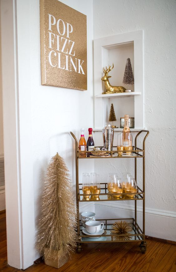 Gold Glitter Bubbly Bar Cart – shared on Haute Off the Rack