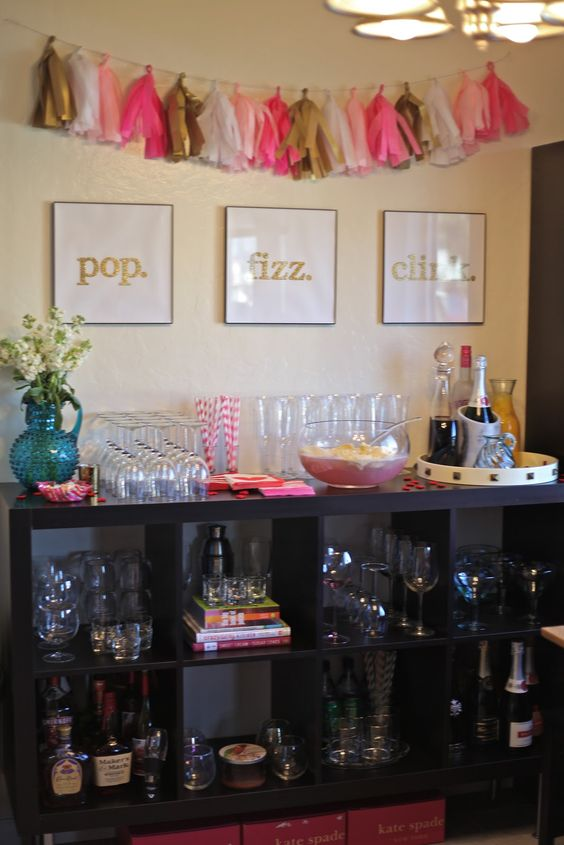"Gold, Pink, and White ""Pop Fizz Clink"" Champagne Station – shared by Natalie Dressed"