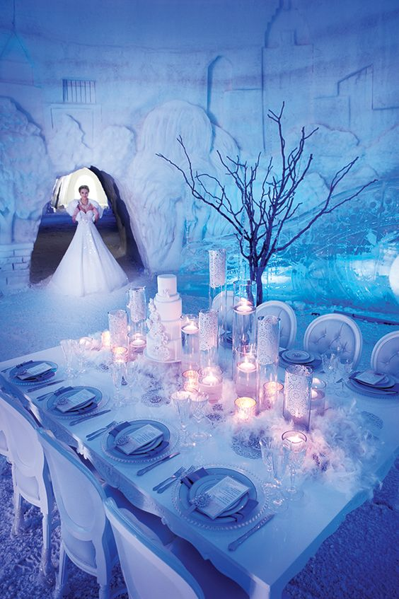 Icy Venue and Tablescape at Snow Village, Parc Jean-Drapeau – featured on Elegant Wedding