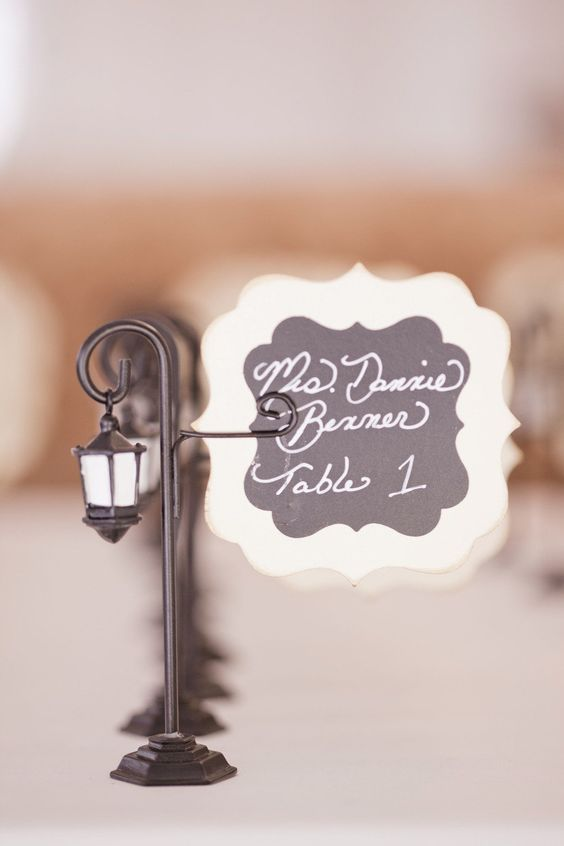 Mini Lamp Post Escort Cards – shared in the Style Me Pretty Vault