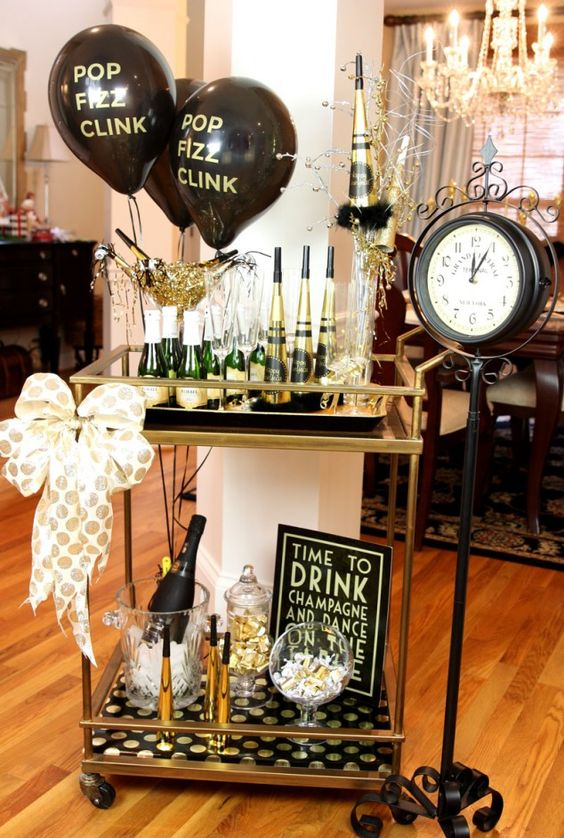New Year's Eve Bar Cart in Black and Gold – shared on Pizzazzerie