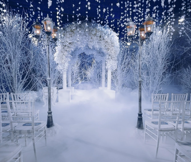 Nighttime Snowy Winter Wedding Altar and Ceremony Décor with Lamp Post Accents – designed by Lid's Event House