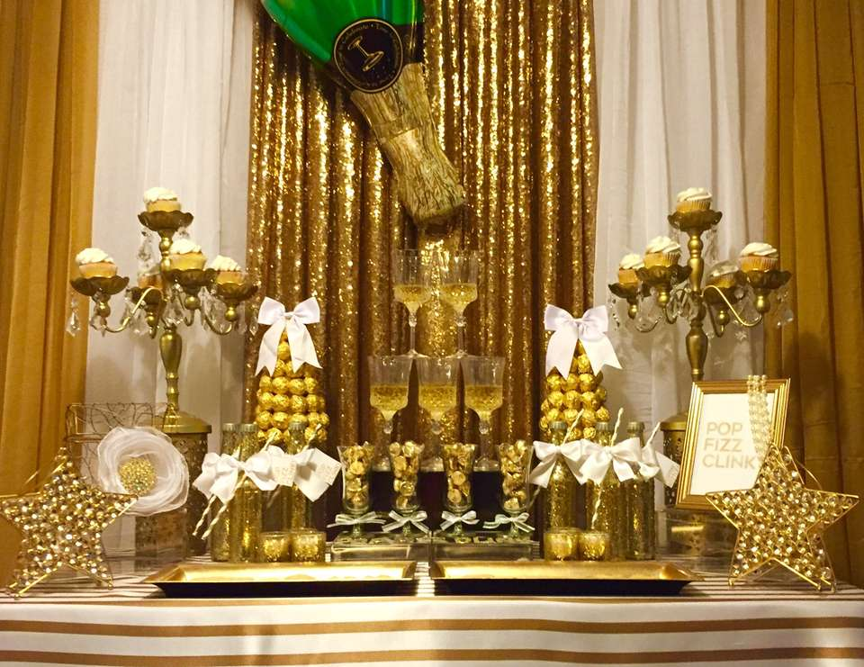 Pop Fizz Clink Champagne Bar in White and Gold – shared by Distinctive Décor Rentals on Catch My Party