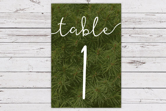 Printable Evergreen Table Number Card – created and sold by vandersterredesign on Etsy