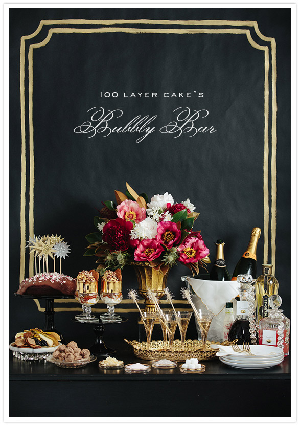 Regal Bubbly Bar in Black with Gold Accents – shared on 100 Layer Cake