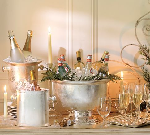 Silver Lined Champagne Spread – shared on Pottery Barn