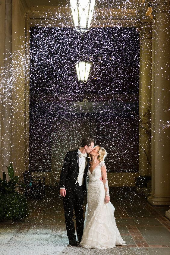 Snow Machine for a Winter Wedding Photo Opp – captured and shared by Rick + Anna Photography