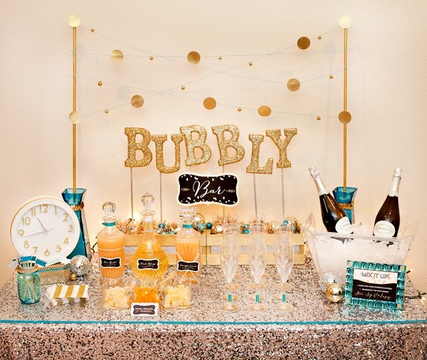 Sweet and Sparkly Gold Glitter Bubbly Bar – shared by Hostess with the Mostess