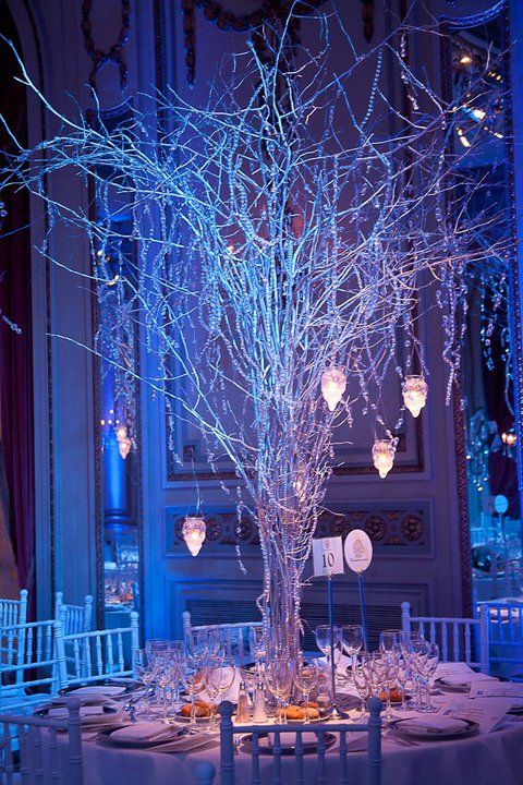 Tall White Branch Winter Centerpiece with Hanging Crystals and Candles