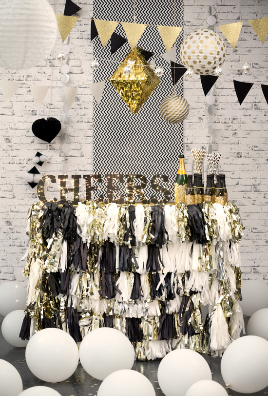 Tassel Fringe Covered Bar in Black, White, and Gold – featured on Polka Dot Bride