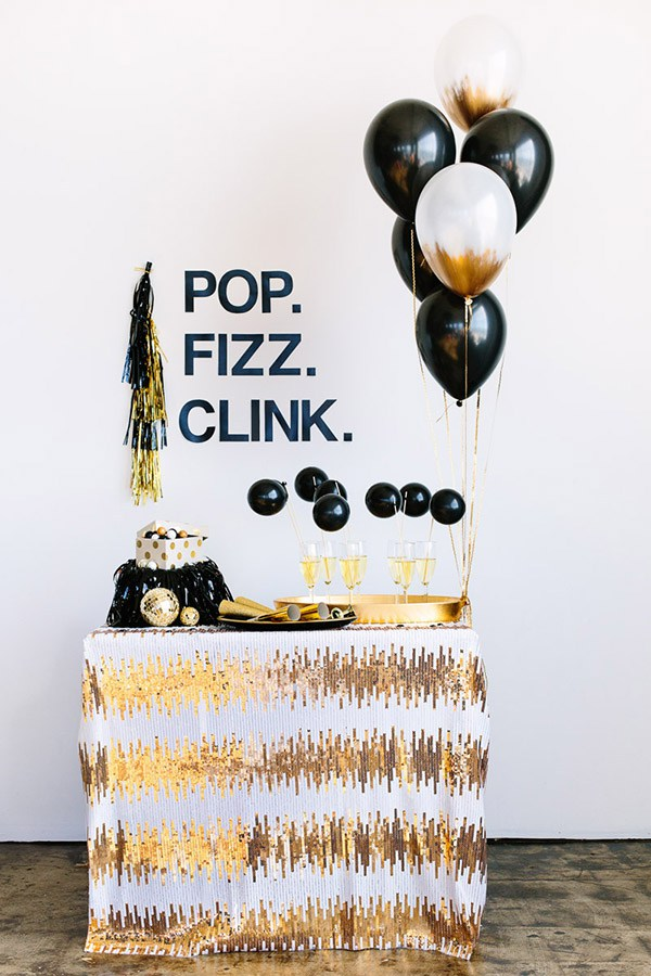 "White and Gold Sequined ""Pop Fizz Clink"" Champagne Station – shared in a roundup on BLovelyEvents"