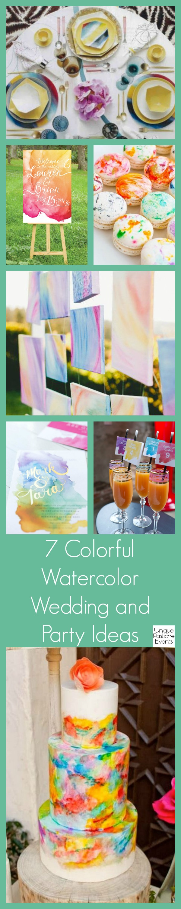 7 Colorful Watercolor Wedding and Party Ideas