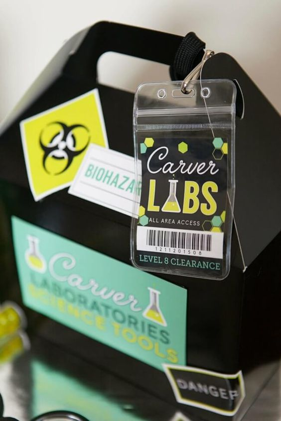 Biohazard Lab Birthday Favor Treat Box – shared by Spaceships and Laser Beams