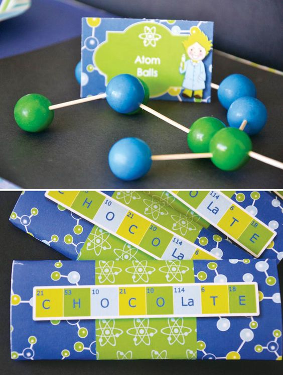 Chocolate Science Molecule Printable Party Favor Wrapper – shared by Hostess with the Mostess