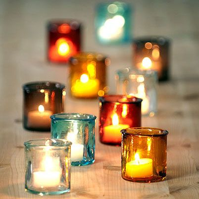 Colorful Glass Votive Candle Decorations – spotted on Pinterest