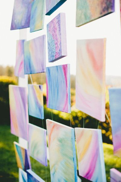 Colorful Watercolor Canvas Wedding or Photo Backdrop – shared in the Style Me Pretty Vault