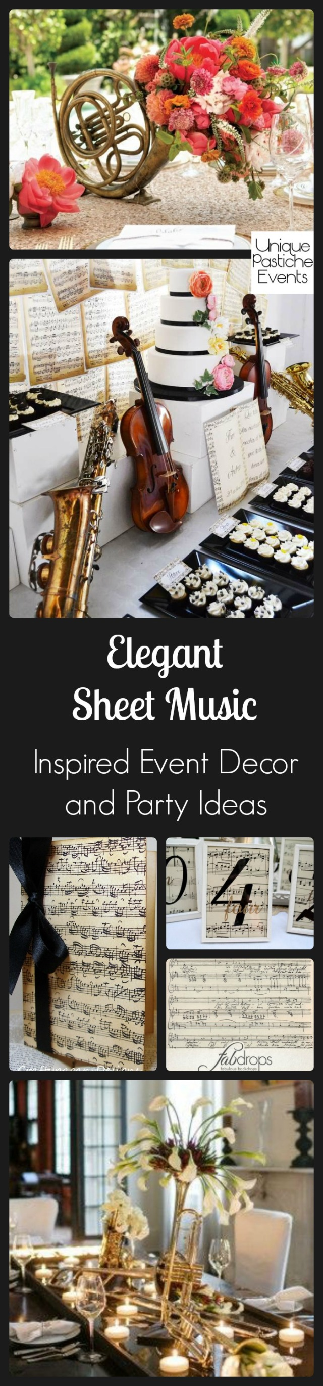 Elegant Sheet Music Inspired Event Decor and Party Ideas