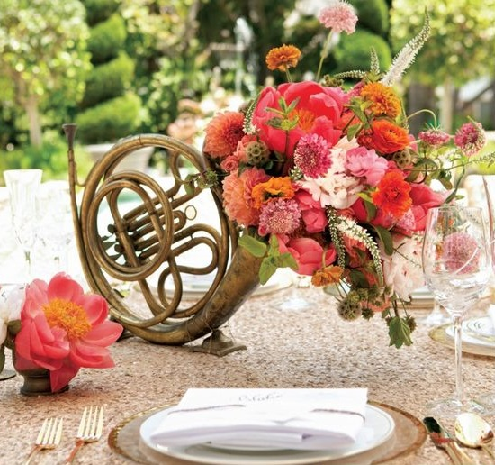 "French Horn ""Sweet Symphony"" Music Themed Centerpiece – created and shared by Kristeen Labro Events"